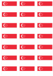 Singapore Flag Stickers - 21 per sheet